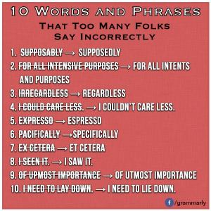 10 Words and Phrases that Too Many Folks Say Incorrectly