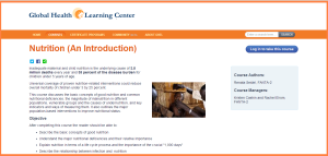 Screenshot of the home page of Nutrition: An Introduction e-learning course